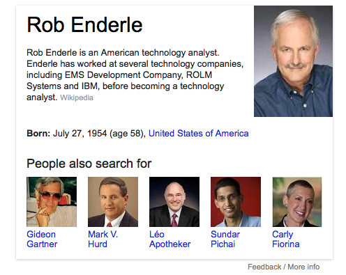 Related search results for Rob Enderle (L-R): purveyor of tech market stats 10 years out, disgraced former HP CEO, laughed-out former HP CEO, soon-to-be-former head of Android, ancient failed senator/CEO of HP