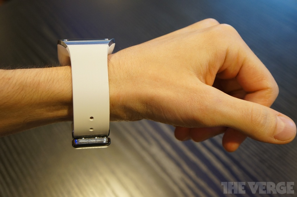 Behold the wrist-crushing svelteness of the Galaxy Gear. Photo courtesy of The Verge