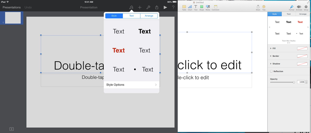 Left is Keynote for iOS; right is Keynote 6 for OS X